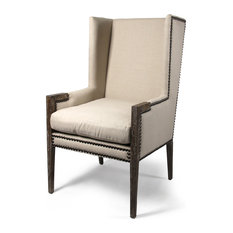 French Modern Angled Linen Nailhead Wing Chair   Armchairs And Accent Chairs