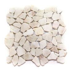 """12""""x12"""" Quartz Flat Pebble Stone Tile Sheet"""