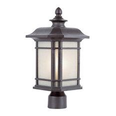 One Light Black Tea Stained Linen Glass Post Light
