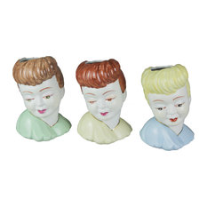 3-Piece Hand Painted Ceramic 1950's Style Lady Head Mini Planters