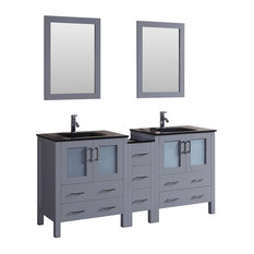 """72"""" Double Vanity With Tempered Glass Top Gray"""