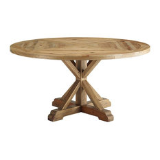 "Stitch 59"" Round Pine Wood Dining Table, Brown"