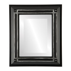 """Imperial Framed Rectangle Mirror in Matte Black with Silver, 24""""x30"""""""