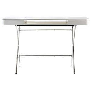 Cosimo Chrome Desk, Matte White Lacquered Top
