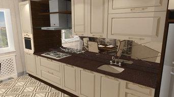 Кухня в благородных бежево-коричневых оттенках
