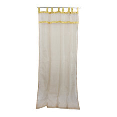 "Mogul Interior - Indian Sari Curtain Beige Sheer Organza Golden Sari Window Drapes, 48x96"" - Curtains"