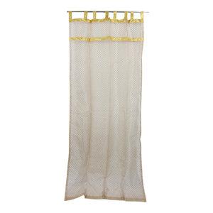 "Mogul Interior - Indian Sari Curtain Beige Sheer Organza Golden Sari Window Drapes, 48x96"" - Curtains"