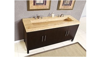 72 Inch Double Ramp Sink with Espresso Finish and Travertine Top UVSR0227TVT72