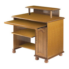 Rustic Oak Computer Desk, With Raised Stand
