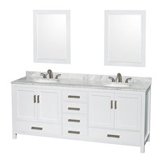 "Sheffield 80"" White Double Vanity, Carrera Marble Top and Undermount Oval Sink"