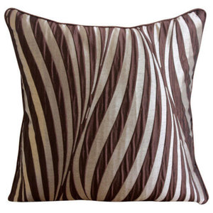 Abstract Stripes Brown Cushion Cover, 55x55 Jacquard Cushion Cover, Brown Waves