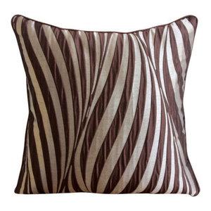 Abstract Stripes Brown Cushion Cover, 55x55 Jacquard Cushion Cover, Brown Waves