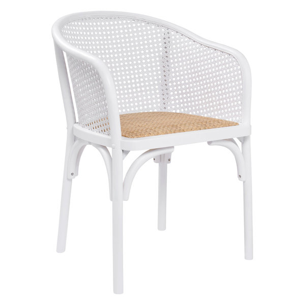 Elsy Armchair, White With Natural Rattan Seat