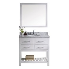 """1st Avenue - Avignon Vanity With Mirror and Round Sink, Chrome Faucet, White, 36"""" - Bathroom Vanities and Sink Consoles"""