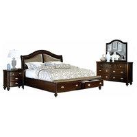 Marston 2615DC 5-Piece Modern Bedroom Set, Dark Cherry, Eastern King