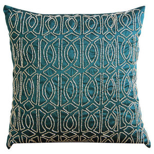 Geometric Royal Peacock Green, 55x55 Art Silk Royal Peacock Green Cushion Cover