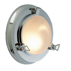 Nautical Porthole Sconce (Solid Brass/  Interior Use), Polished Chrome