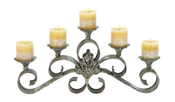 "Metal Candle Holder, 23""W, 11""H"