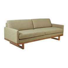 Modhaus Living   Mid Century Modern Lime Green Upholstered Sofa With Solid  Wood Base And Legs