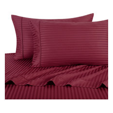 1000 Thread Count Egyptian Cotton Stripe Duvet Cover Set, Queen, Burgundy