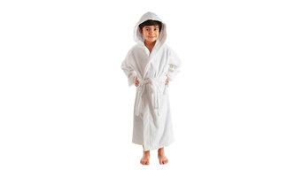 Kids Terry Velour Turkish Hooded Bath Robe, White, Small