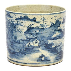 Vintage Style Blue and White Porcelain Landscape Motif Flower Pot 8""
