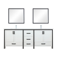 Ziva 84-inch Double Vanity With Top Sink Mirror And Faucet White