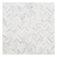 """Oriental Sculpture Herringbone 1""""x3"""" Marble Mosaic Tile, Beige"""