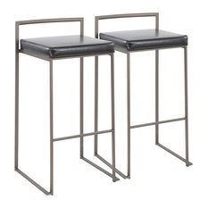 Fuji Stackable Barstool in Antique with Black Faux Leather Cushion-Set of 2