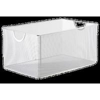Silver Mesh Open Bin Storage Basket Organizer