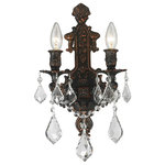 "Starry Sky Trading Inc - 2 Light Flemish Brass Finish 12'' Crystal Candle Wall Sconce Light - Dimensions: D12"" x H13"" / D31cm x H33cm (Diameter x Height)"