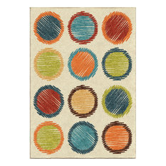 "Orian Indoor/Outdoor Kids Court Circle Sketch Area Rug, Cream, 3'10""x5'2"""