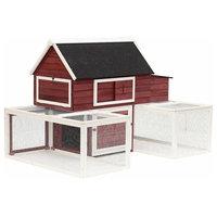 "Pawhut 114"" Wooden Customizable Backyard Chicken Coop With Nesting Box and Runs"
