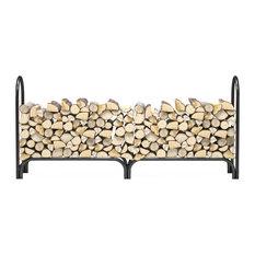 Regal Flame 8 Foot Heavy Duty Firewood Log Rack Outdoor Firewood Holder, Black