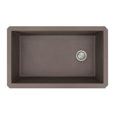 """Radius 31.75""""x19.1""""x9.5"""" Granite Super Single Undermount Kitchen Sink, Espresso"""