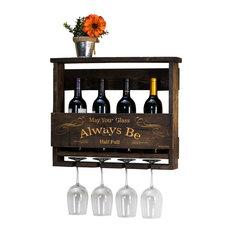 """Del Luxe Top Shelf Engraved """"Always Be"""" Wine Rack, Gray"""