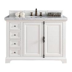 Providence 48-inch Vanity Cottage White 3cm Santa Cecilia Granite Top Oval Sink