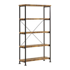 Coaster Barritt Wood and Metal Open Bookcase
