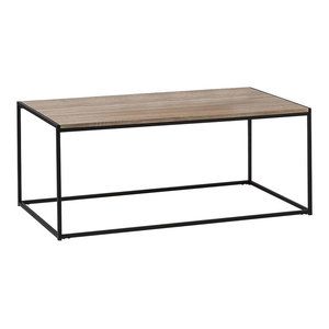 Contemporary Coffee Table With Steel Metal Frame and Oak Finished Top