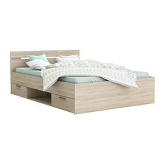 Michigan Euro Double 2-Drawer Bed, Natural