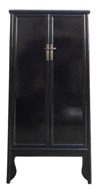 Attirant Chinese Oriental Black Lacquer Tall Armoires Cabinet