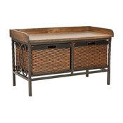 Safavieh Noah 2-Drawer Wooden Storage Bench, Antique Pewter, Oak