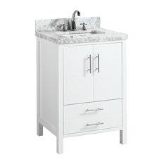 "California Bath Vanity, Base: White, 24"", Top: Carrara Marble"