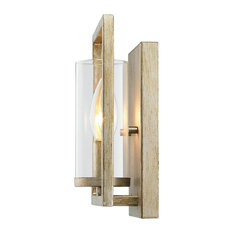 Marco 1-Light Wall Sconce, White Gold With Clear Glass