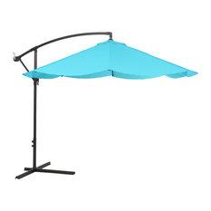 Pure Garden Offset 10 Foot Aluminum Hanging Patio Umbrella, Blue