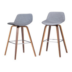 Randolph Bentwood Counter Stool, Set of 2, Stone Gray Faux Leather