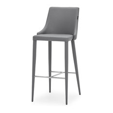 Jillian Gray Leatherette Bar Stool with Stainless Steel Base