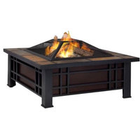 Outdoor Square Steel Wood Burning Fire Pit Table with Spark Screen