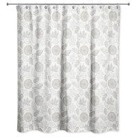 """Gray Pumpkin Pattern 71""""x71"""" Shower Curtain"""