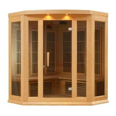Corner Carbon Infrared Sauna With Chromotherapy, 3-Person